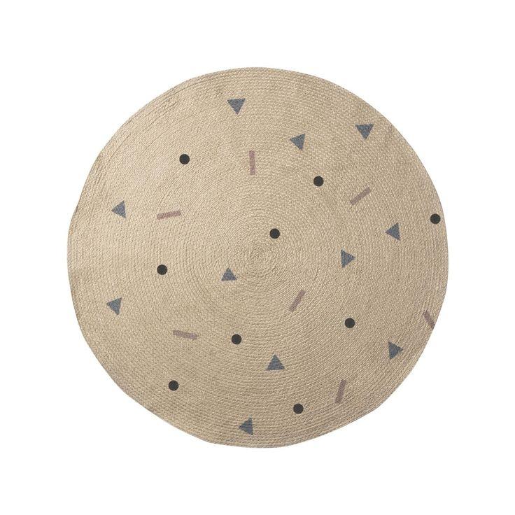 ferm LIVING - Jute Rose Multi Teppich klein - mehrfarbig/rund/Ø 100cm