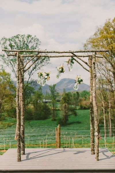 Handmade Natural Wood Arbor For Wedding Ceremony Rustic