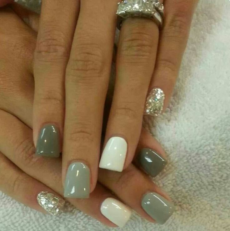 Nails Greys Neutrals Simple elegant cute 2013 -maybe substitute coral or pink for the bride's colors.