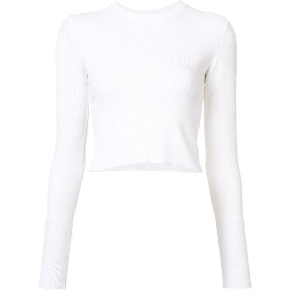 Proenza Schouler Cropped Sweater found on Polyvore featuring tops, sweaters, kirna zabete, cropped sweater, white long sleeve sweater, white crop top, white long sleeve top and crew neck sweaters