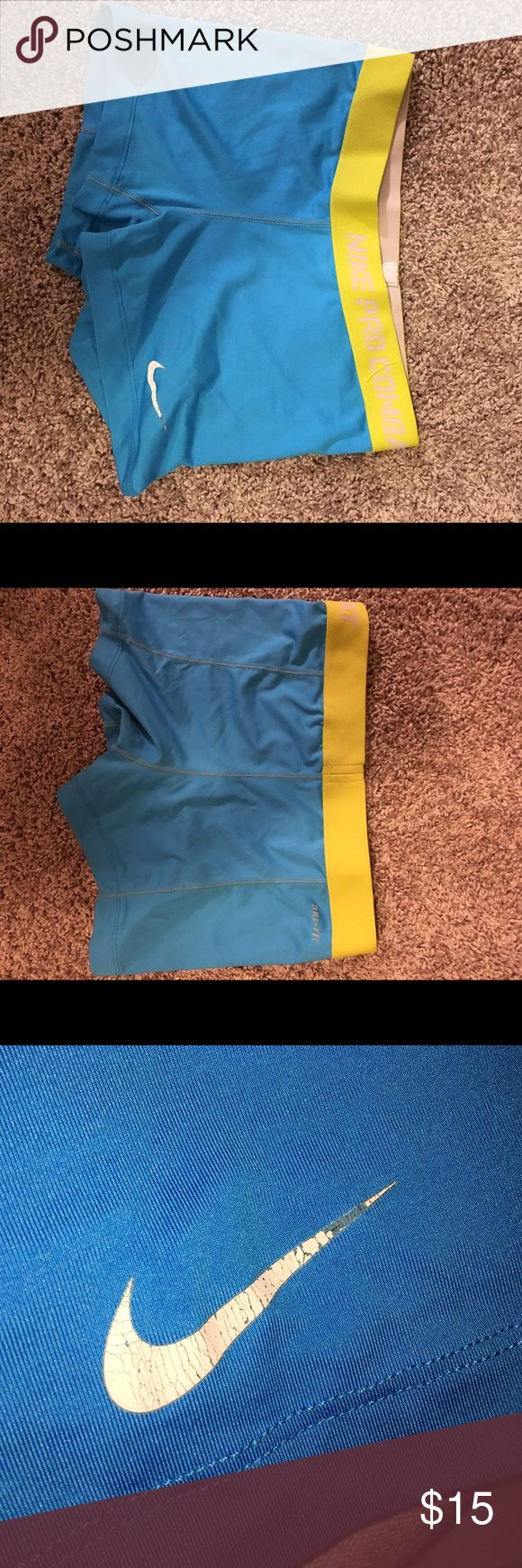 Blue Nike Pros everyone loves their fun-colored nike pros :) good condition, tag is worn & cracked nike pro sign on front but no deal breakers if you ask me Nike Shorts