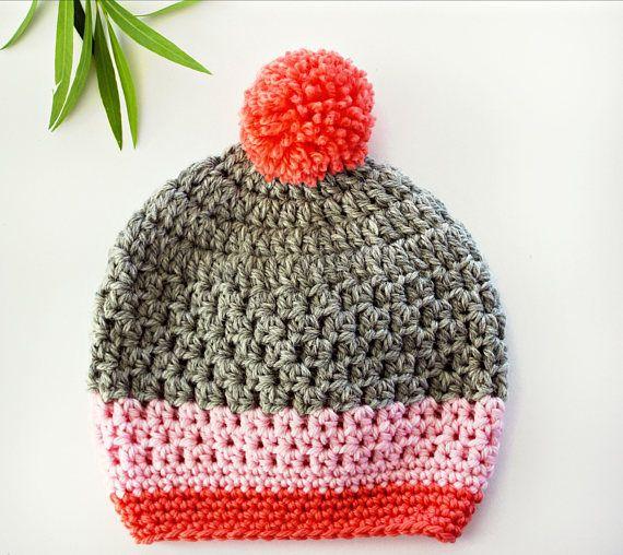 gorrita tejida del pom pom | sombrero de invierno de bebé niña ganchillo | 6-12m