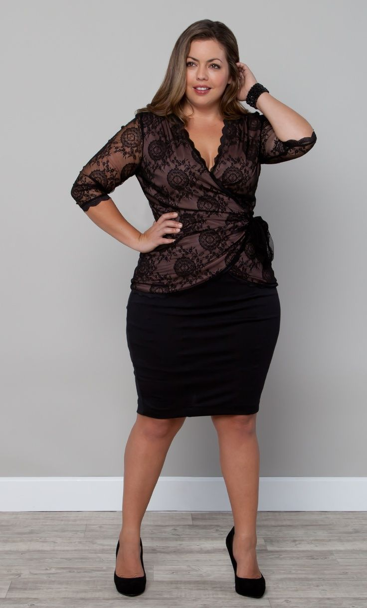 Curvy Woman Black Pencil Skirt Brown and Black Lace Top and Black High Heels