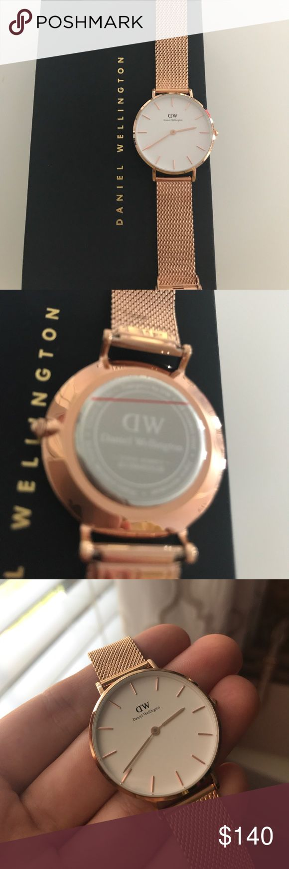 Daniel Wellington Classic Petite Gold Watch Never worn, brand new. As you can see the plastic is still on the back. Comes with box and everything you need to adjust the watch, as well as instructions. Beautiful minimalist watch. Just wasn't my style so I'm deciding to sell. Willing to netotiate price but no trades!! 32mm Daniel Wellington Accessories Watches