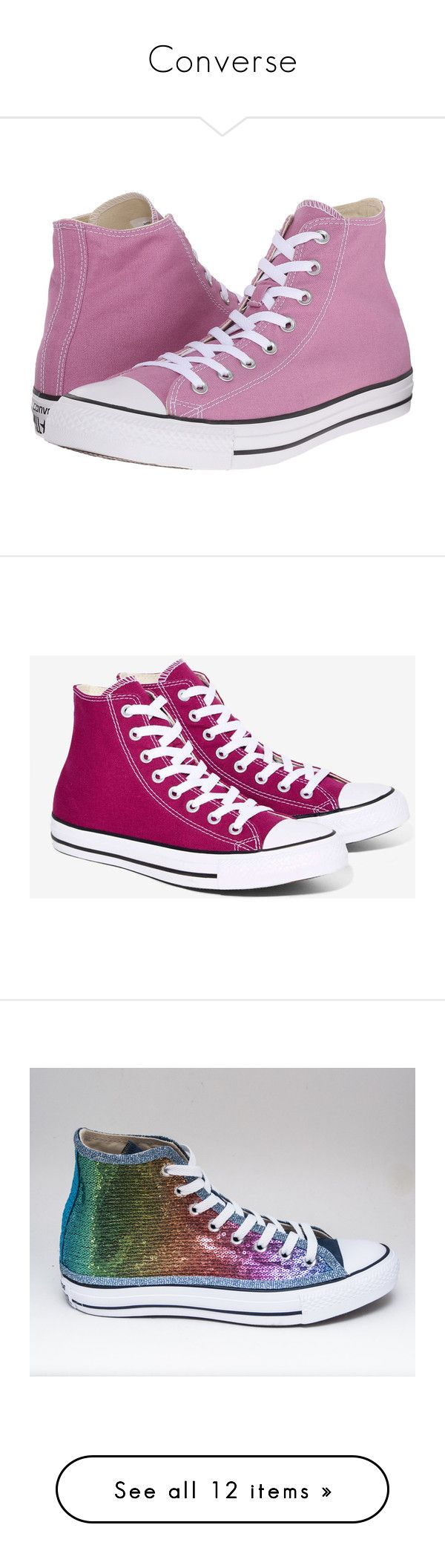 """""""Converse"""" by heyitsmac101 ❤ liked on Polyvore featuring shoes, sneakers, tennis shoes, pink, purple high top sneakers, pink high tops, converse high tops, high top tennis shoes, converse sneakers and canvas sneakers"""