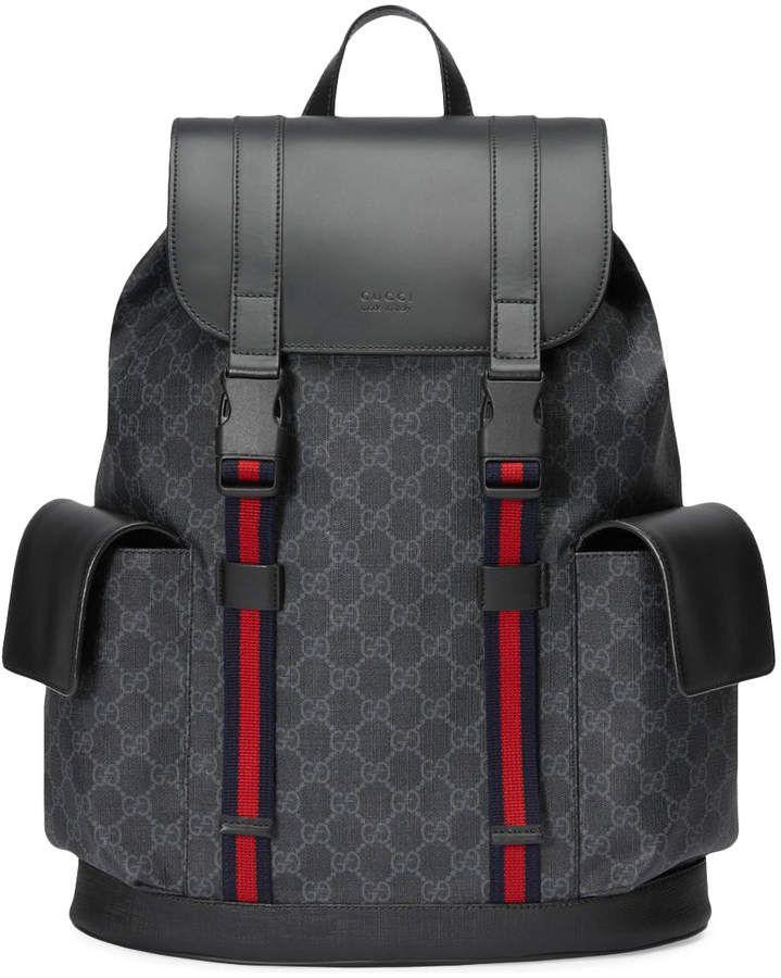 995ebbaddb2 Gucci Soft Backpack GG Supreme Blue Red Web Black Grey in 2019 ...
