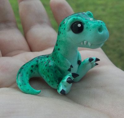 Cute Little Dinosaur | Made out of Clay? | Green Tyrannosaurus Rex by Dragons and Beasties