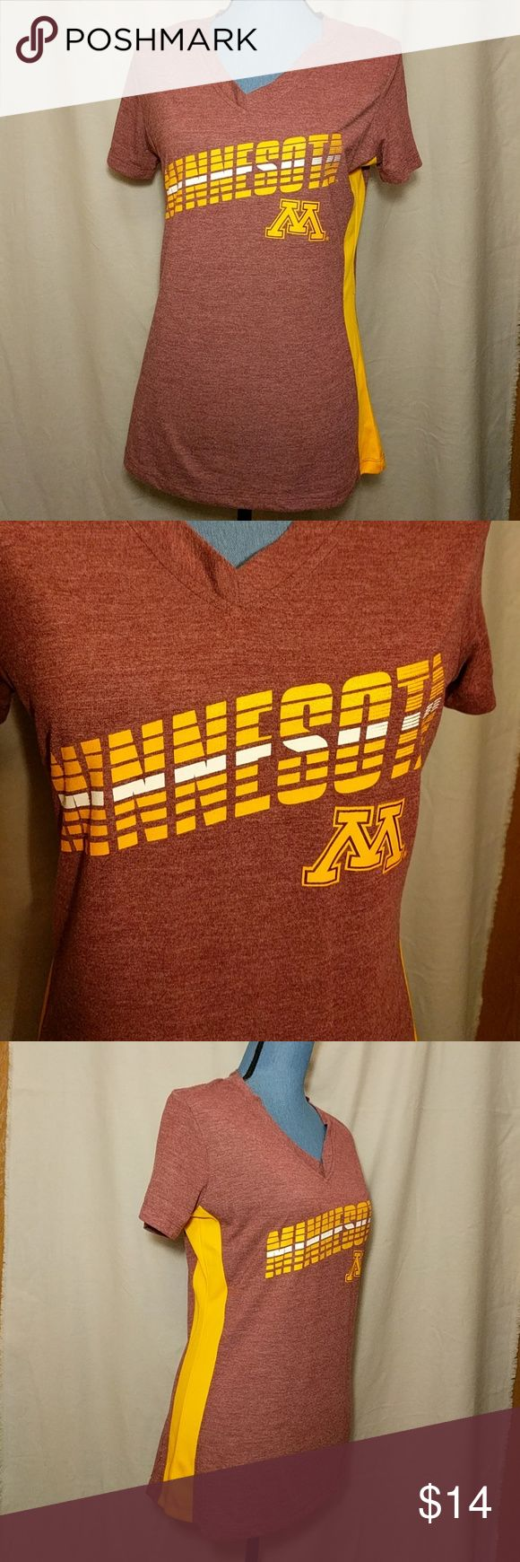 Minnesota Gophers Women's Tee University of Minnesota college team, Minnesota Gophers. Women's size Medium, V-neck tee. Colors are maroon and gold. Approximate flat lay measurements include: armpit to armpit is 19 inches, shoulder to sleeve is 7 inches, shoulder to bottom hem is 26.5 inches. Small snag on one side as shown in last photo. Rivalry Threads 91 Tops Tees - Short Sleeve