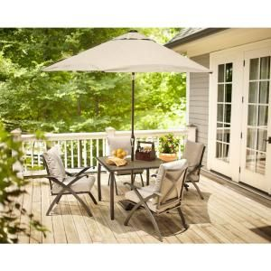From The Home Depot · Hampton Bay Marwood 5 Piece Patio Dining Set With  Light Gray Cushions 131