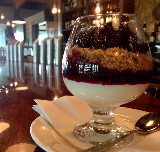 Baileys & Blueberry reverse cheesecake (also available gluten free). Available @ The Quarie.