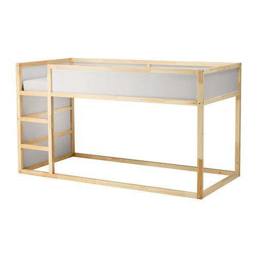 Kura reversible bed white pine low bunk beds mattress for Reverse loft bed