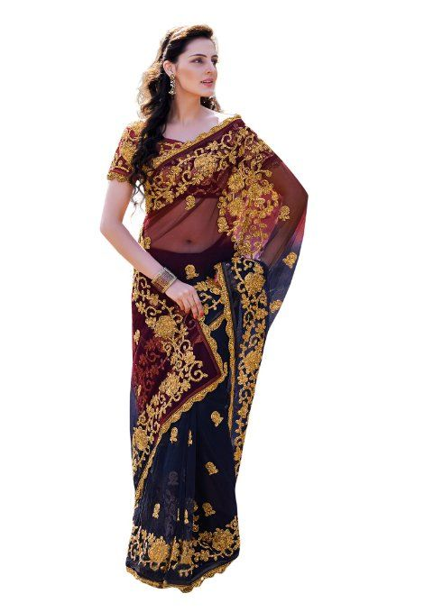 Amazon.com: Fabdeal Indian Designer Net Blue Embroidered Saree: Clothing