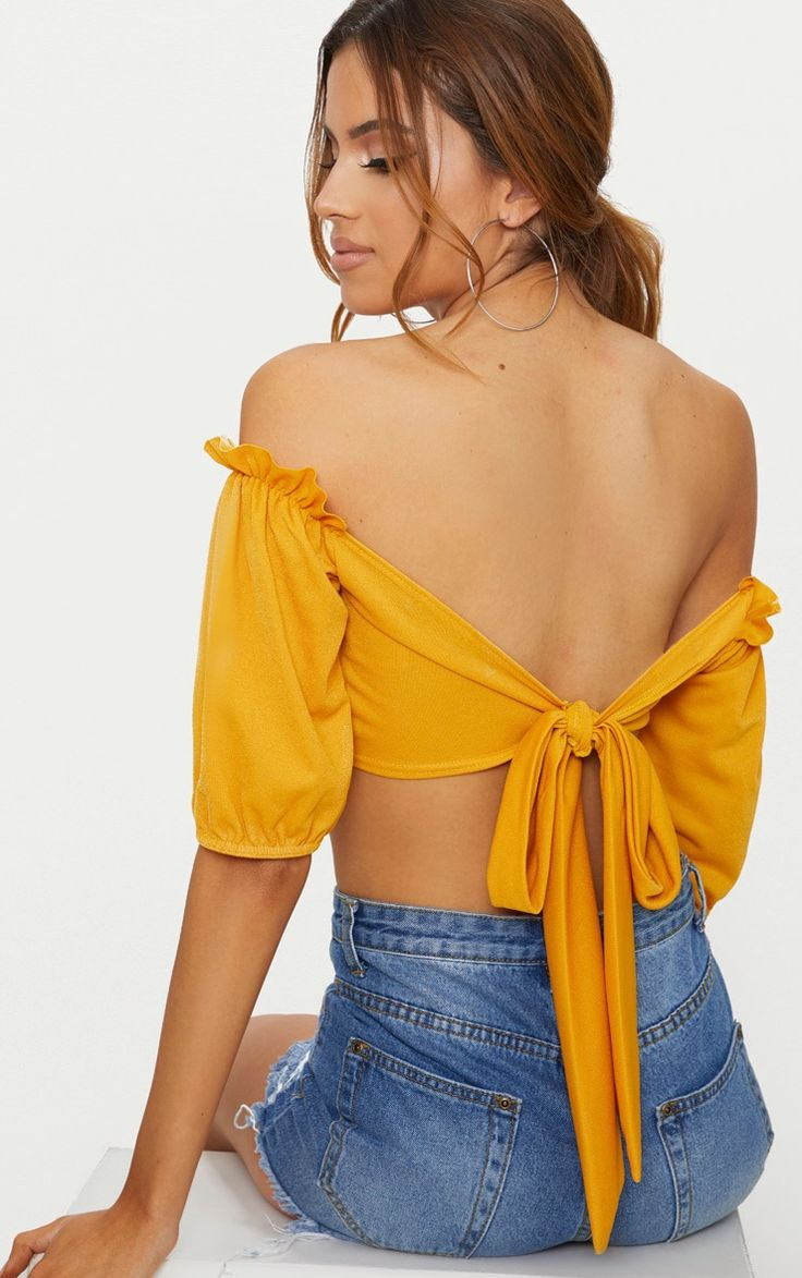 Latest Low Shipping Fee Cheap Online Mustard Check Shirred Detail Long Sleeve Bardot Top Pretty Little Thing 9op4ibsa