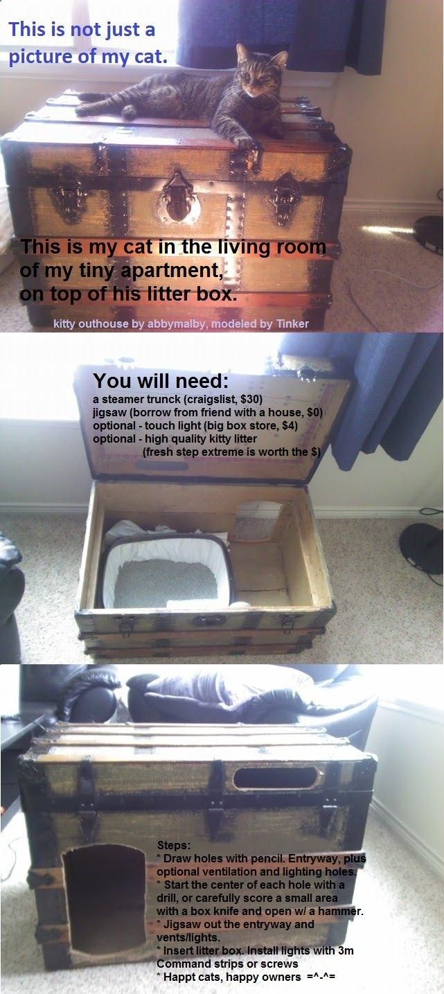 LPT: for cat people with small apartments, turn almost any used furniture into a stylish kitty outhouse – Imgur/Reddit