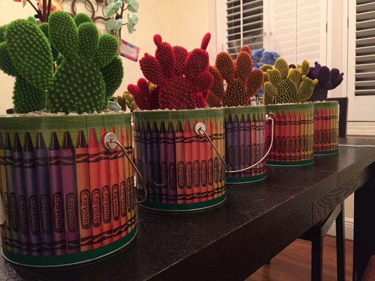 Desert Gem Cacti from costa farms made colorful centerpiece for our Art Party