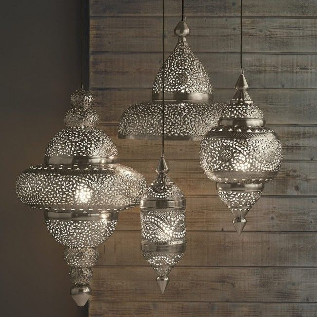 Moroccan Hanging Lamp Collection - Silver Finish | VivaTerra                                                                                                                                                      More