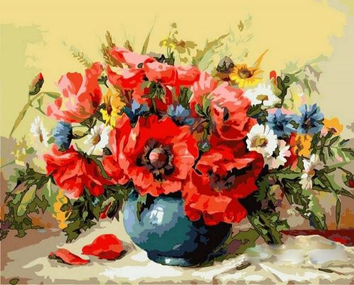 Раскраска по номерам «Маки» Майкла Гаусса Картина по номерам, картина-раскраска по номерам, раскраска по номерам, paint by numbers, купить картину по номерам - Zvetnoe.ru - картины по номерам, алмазная мозаика