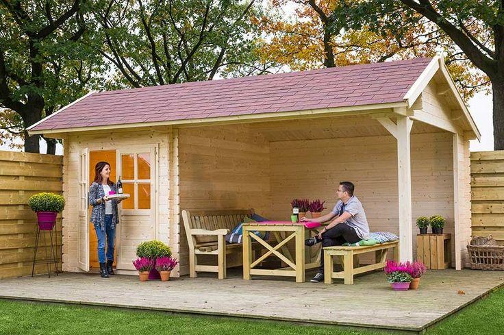 Gezellig en praktisch tuinhuis met veranda overkapping.