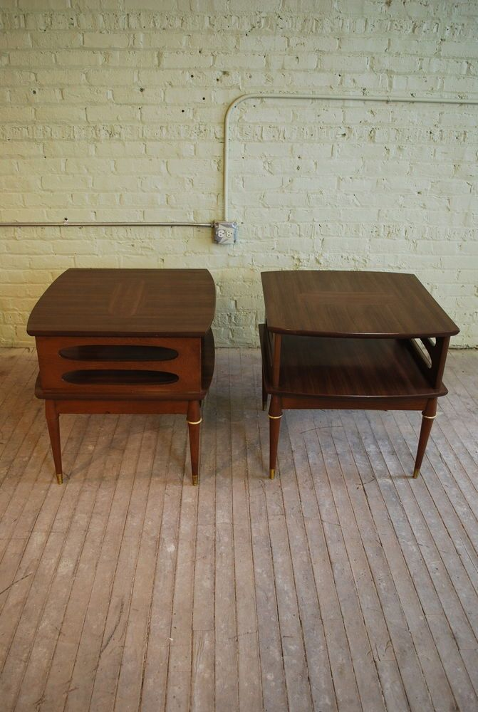 For Sale Two Vtg Mid Century Mod Tapered Leg Retro Wood