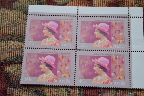 Australian-Decimal-Stamps-1984-Birthday-of-Queen-Elizabeth-II-Cnr-Block4-Tab-MNH