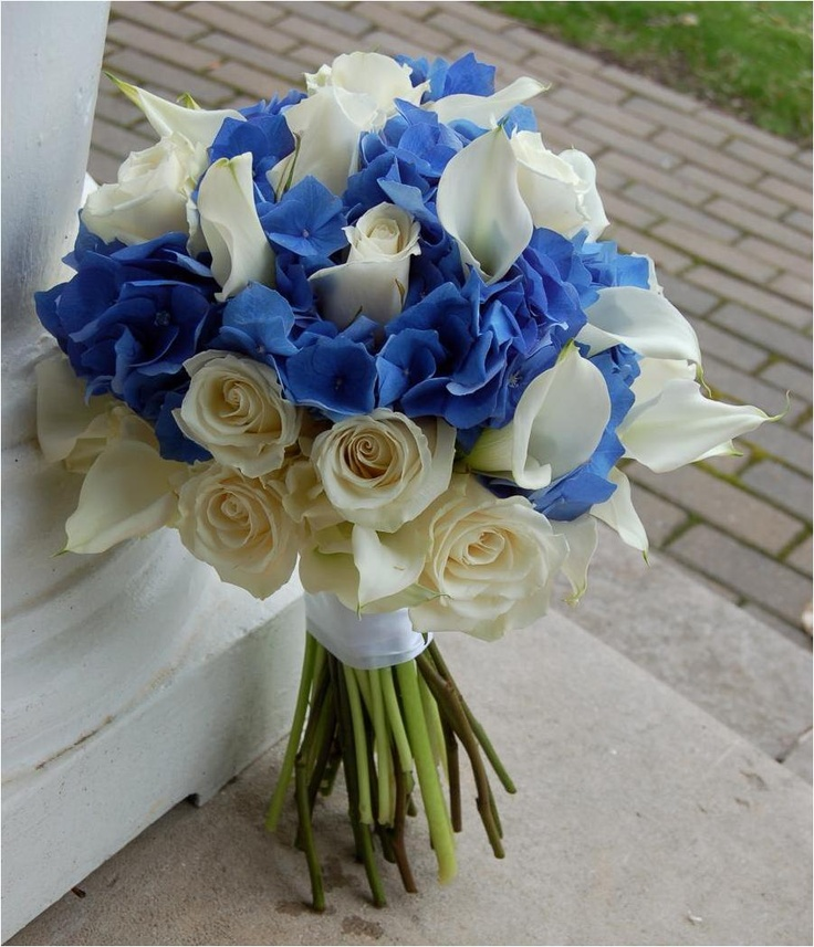 Bouquet with blue hydrangea.