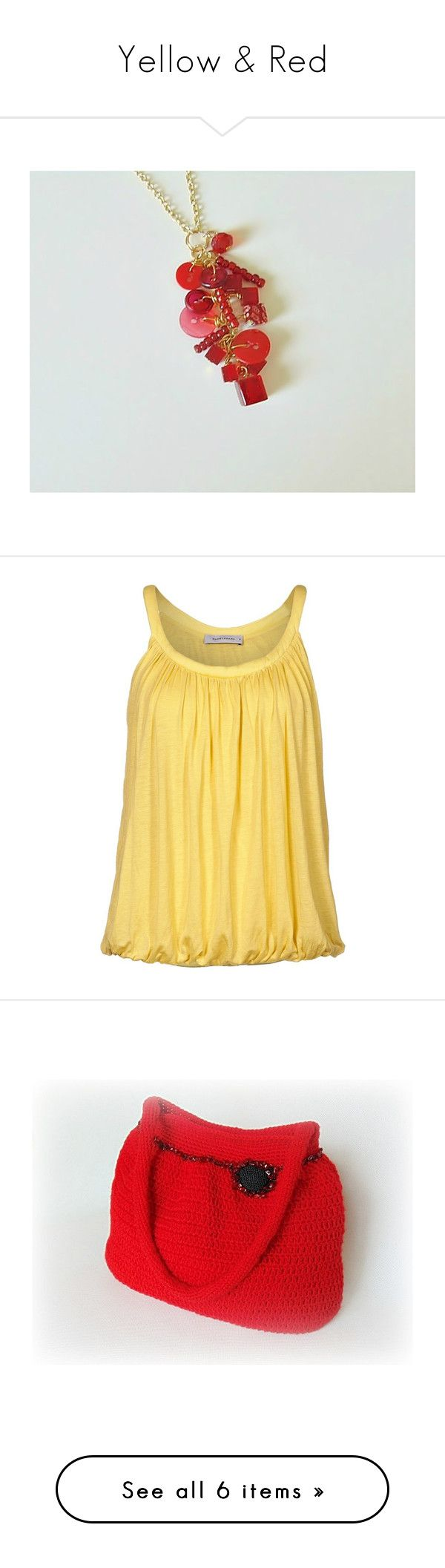 """""""Yellow & Red"""" by styledonna on Polyvore featuring jewelry, pendants, tops, shirts, tank tops, yellow, tanks, women's tops, yellow shirt i yellow tank top"""