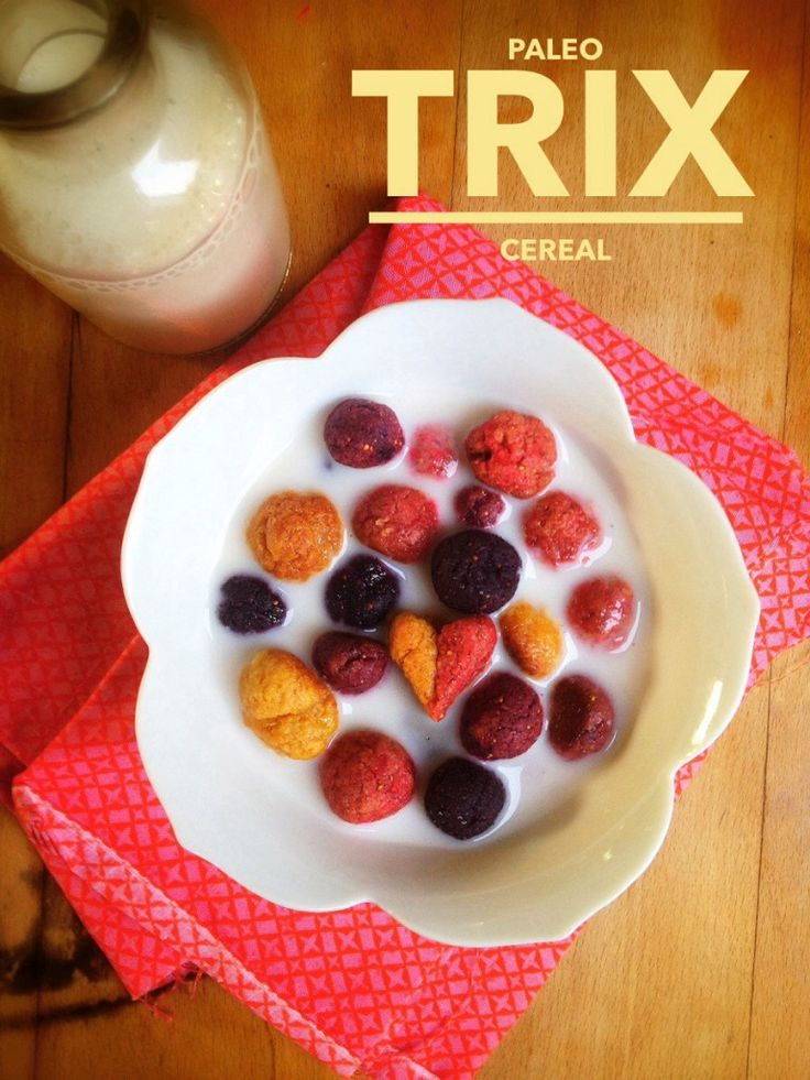 Paleo Trix Cereal... real food, no crazy ingredients, brilliant (almond flour, ground dehydrated fruit, oil, eggs, etc.)