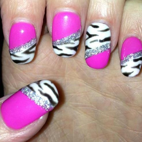 Zebra nail art using gelish x