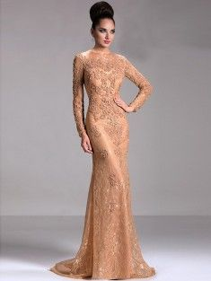 Sheath/Column Scoop Floor-Length Lace Long Sleeves Mother of the Bride Dress With Applique