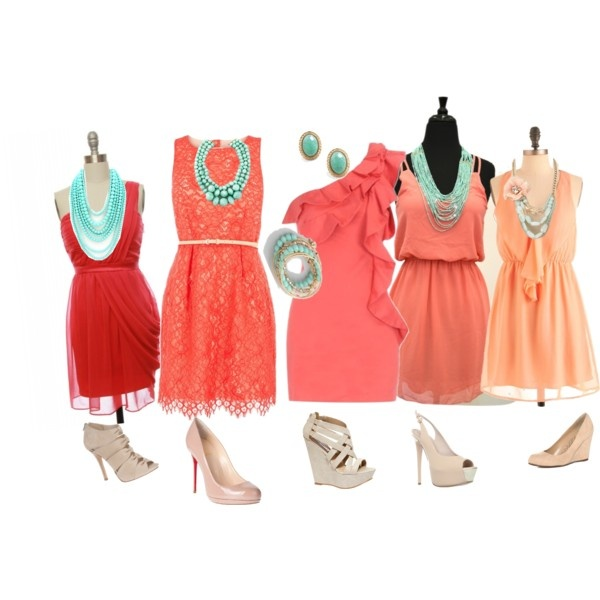 Coral dresses and bright turquoise jewelry. - 85 Best Plan B Images On Pinterest Coral Dress, Mismatched