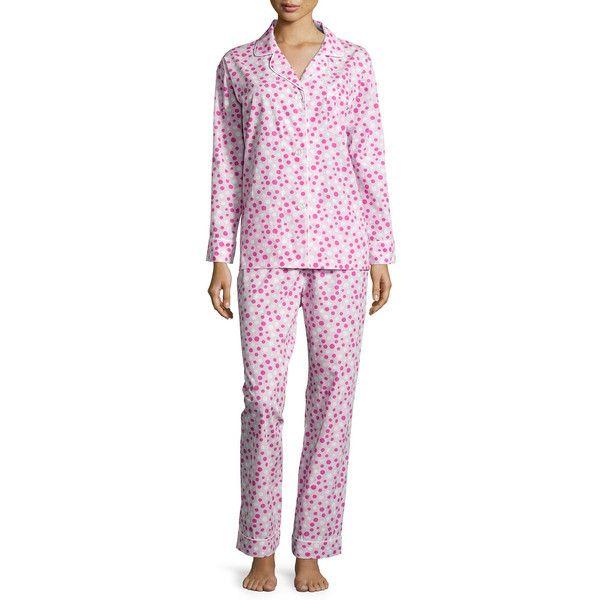 Bedhead Polka-Dot Long Pajama Set ($115) ❤ liked on Polyvore featuring plus size fashion, plus size clothing, plus size intimates, plus size sleepwear, plus size pajamas, polka dot pajamas, pink pjs, long pajamas, long sleeve pajamas and pink sleepwear