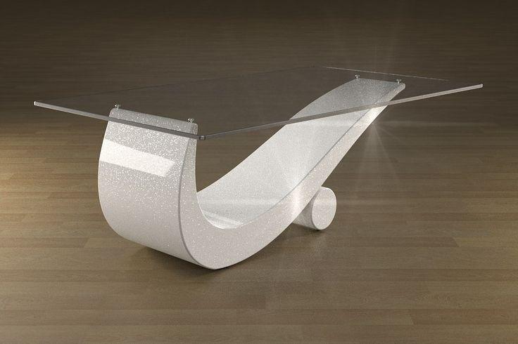 Articolo 43C-6 Tavolino da salotto FlexFinitura: bianco con brillantini argento.Misure: cm 110 x 65 - Altezza: cm 42 - Peso: Kg. 52Vetro: rettangolare - temperato - extra white - filo lucido - spessore 1 cm