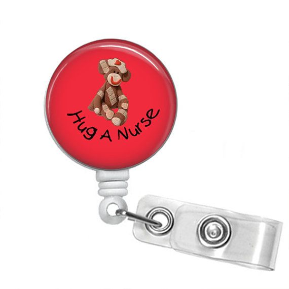 HUG A NURSE Sock Monkey Retractable Badge Reel by PerfectlyPreppy (Accessories, Keychains & Lanyards, Lanyards & Badge Holders, badge reel holder, key fob chain, nurse clip on belt, preppy sayings funny, cute fun hospital, nursing small gift, scrubs words saying, valentines day, mothers day male, id sock monkey, lanyard school lab, name tag student, national nurses week)