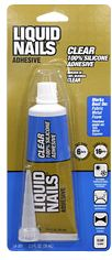 "Glue for O'verlays -  Liquid Nails Clear Silicone Adhesive (blue)  -  (1) great for light decorative use & use w/our 1/8"" thick products  (2) semi-permanent: glue dries like a rubbery caulk & in some instances can be peeled off  (3) dries clear (4) dries quickly  (5) great for IKEA products  (6) works best for wood, metal, concrete, fiberglass, painted surfaces, vinyl, porcelain, house numbers, countertops, plastics - except polyethylene & polypropylene, moldings, and canvas/fabrics"