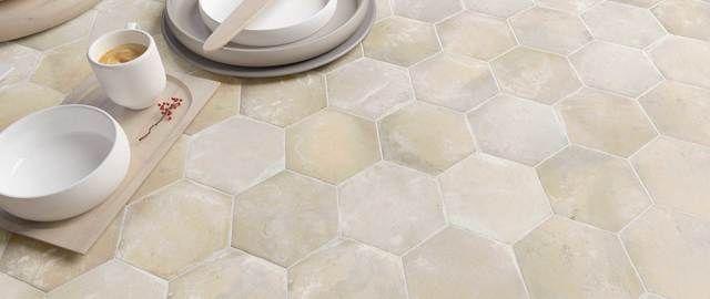 Hexa Cottage Tile Collection Sand 5 5 X6 3 Hexagon Tile For Floor Wall In 2020 Flooring Tile Stores Ceramic Tiles