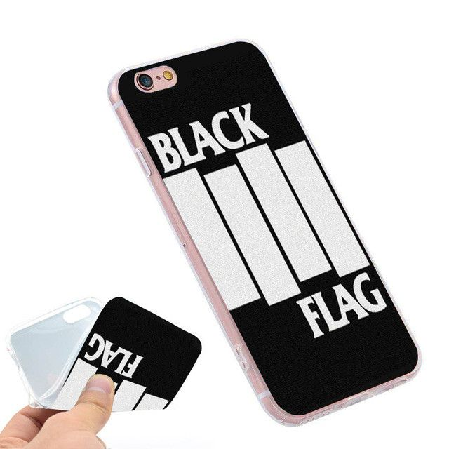 BLACK FLAG Band Logo Clear Soft TPU Slim Silicon Phone Case Cover for iPhone 4 4S 5C 5 SE 5S 7 6 6S Plus 4.7 5.5 inch