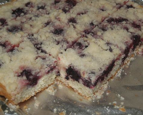 """Mennonite Blackberry Platz ( Platz is an old world Ukrainian dessert which means """"flat cake"""". The cake is topped with a tart fruit such as blackberries, blueberries, apples, gooseberries or rhubarb) (1) From: Yellowrock Country Girl, please visit"""