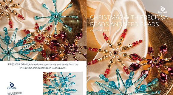 Christmas stars made with PRECIOSA beads and seed beads