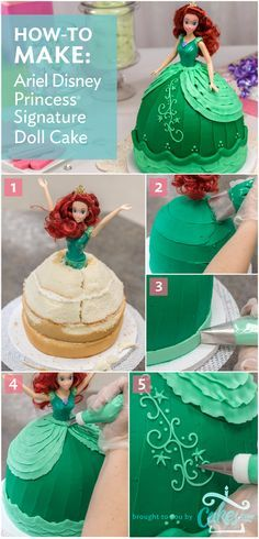 DIY Ariel Disney Princess Doll Cake tutorial (has a video too). Could do it all in buttercream!