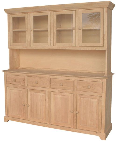 Unfinished Furniture Outlet,Sanford NC Large Hutch and Buffet - Solid Wood  Unfinished Four Glass Doors Four Drawers Four Raised Panel Doors Comes with  can ...