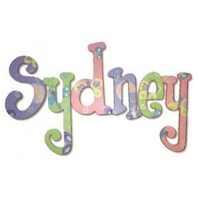 Sydney Butterfly Garden Hand Painted Wooden Hanging Wall Letters