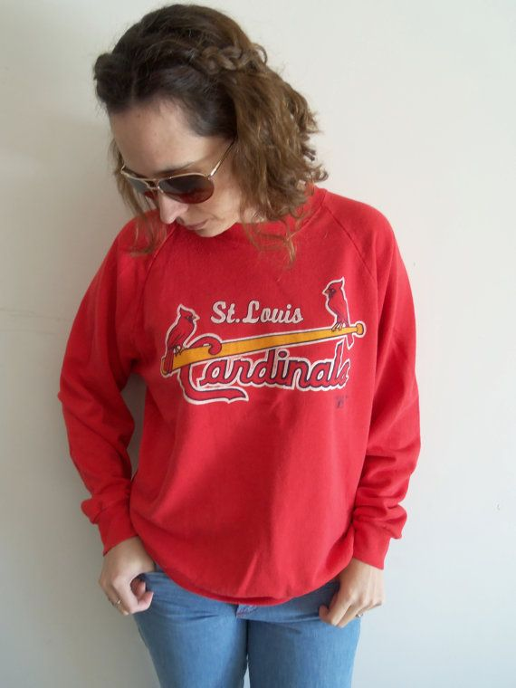 80s Distressed Red St Louis Cardinal Baseball by FunkyOldSoul