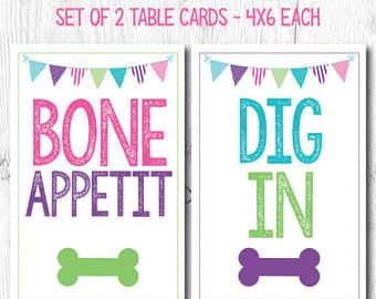 Pet Adoption Party, Pet Adoption Food Cards, Puppy adoption party, Table cards, Digital files, Instant download