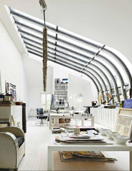 Glass roof. Genius.: Interior Design, Window, Workspace, Loft, Architecture, Light