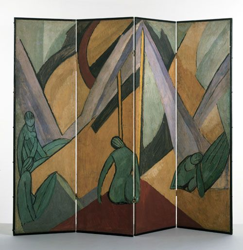 Omega Workshops, Vanessa Bell. Bathers in a Landscape, four-fold screen, 1913.