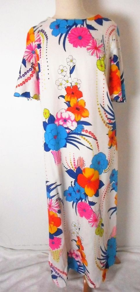 Vtg 1970s SEARS The Great Entertainers Long Hawaiian Style Dress Size 42 (Large) #Sears