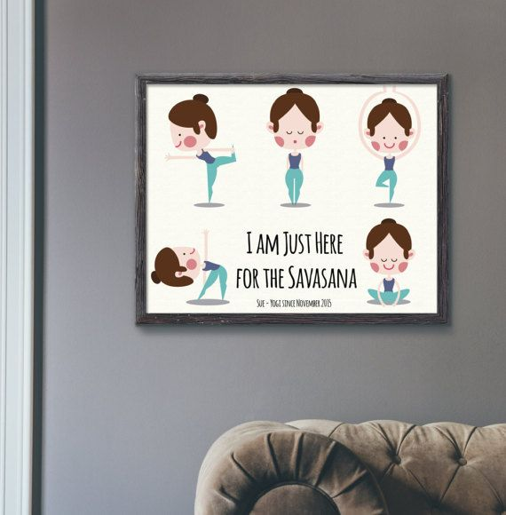 *** This listing is for a personalised A4 physical print delivered by post ***  I am just here for the Savasana Yoga Yogi Since Personalised Print.  It can be personalised with name, date and other info - including the colour of the hair for the girl. (Please, specify personalisation details in a message when placing the order). The print comes unmounted. If you would prefer a mounted frame, please contact us and wed be happy to help you with this.  Size: A4 - 297 x 210 mm - 11.7 x 8.3 in…