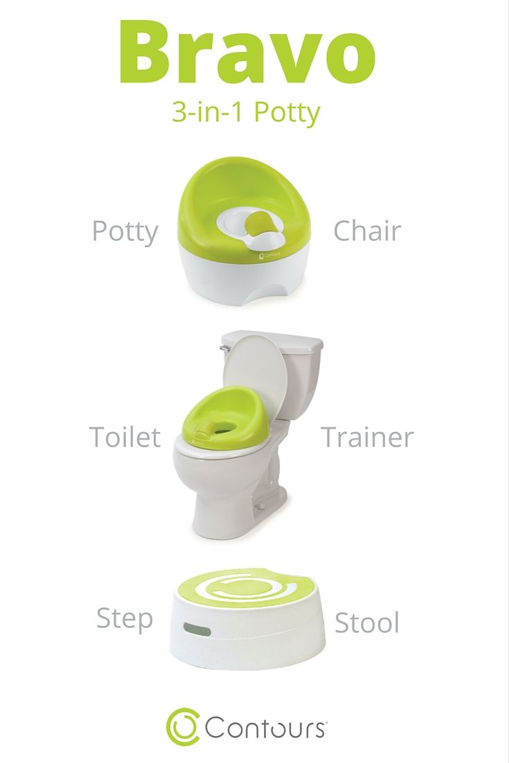 The Contours Bravo 3-in-1 Potty Chair converts from a floor potty seat to a toilet trainer and step stool!