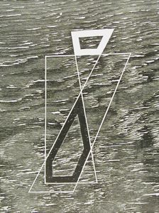 Above the Water, Josef Albers, 1944, woodcut, 13 1/8 in. x 10 in. Currier Museum of Art.