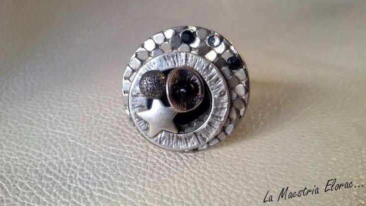 Nouveauté ❊ Bague bouton - Bijou artisanal - Bouton métal écailles, bouton carré nacre noire, bouton étoile, verre : Bague par la-maestria-elorac